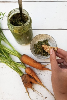 Pesto aus Möhrengrün mit Mandeln und Parmesan | Rezepte aus dem Garten