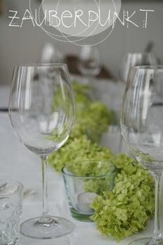 Hortensienband als Tischdekoration