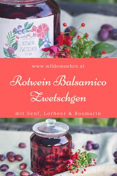 Rotwein-Balsamico-Zwetschken mit Rosmarin, Lorbeer & Senf