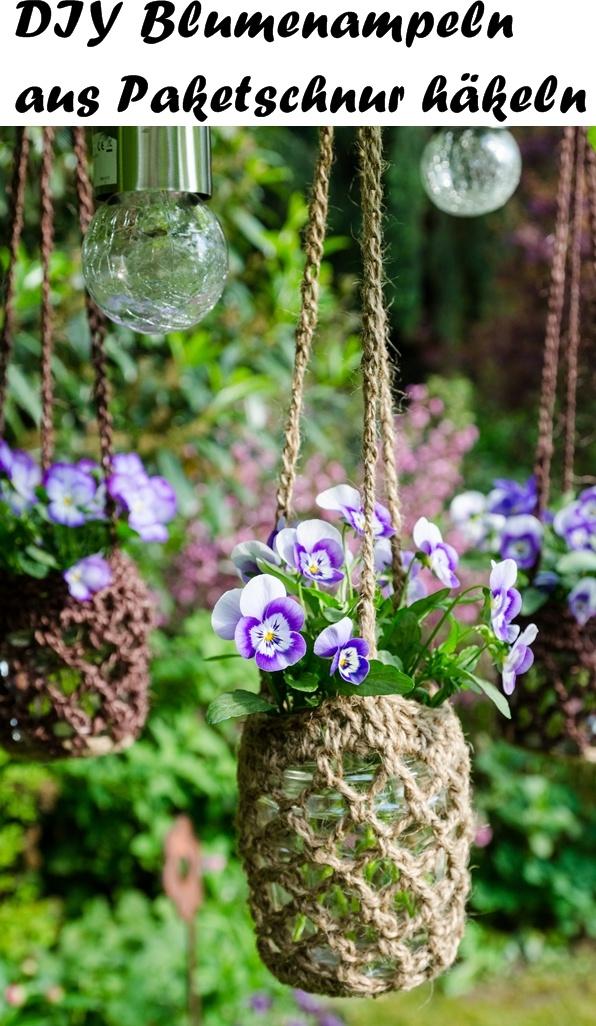 Freudengarten Diy Blumenampeln Aus Paketschnur Häkeln