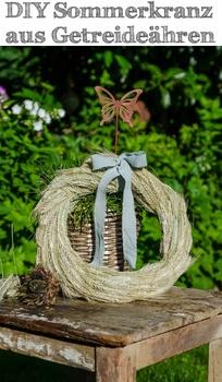 DIY Sommerkranz für den Garten aus Getreideähren