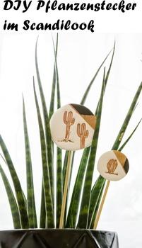 Pflanzenstecker aus Fimo im Scandi-Look