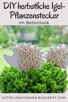DIY herbstliche Igel-Pflanzenstecker im Betonlook